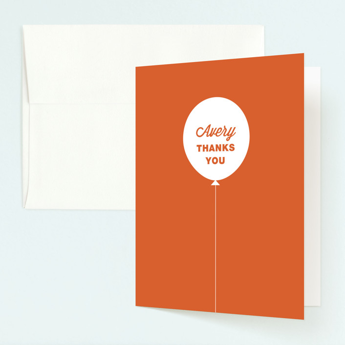 """Stacked Balloon"" - Childrens Birthday Party Thank You Cards in Burnt Orange by Guess What Design Studio."