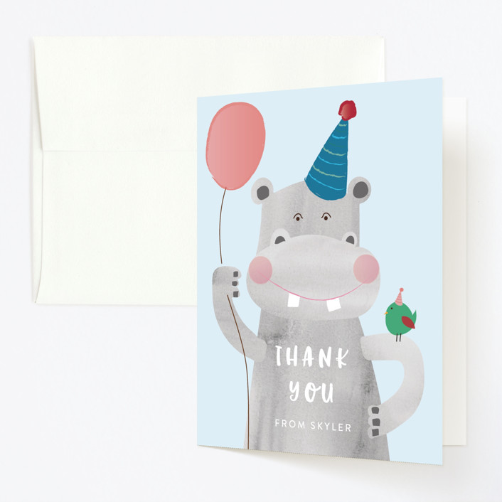 """""""Party Hippo"""" - Childrens Birthday Party Thank You Cards in Coral by Kanika Mathur."""