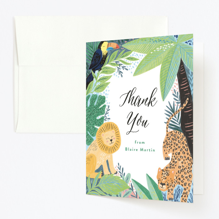 """""""Jungle Animal Sketchbook"""" - Childrens Birthday Party Thank You Cards in Canary by Alethea and Ruth."""