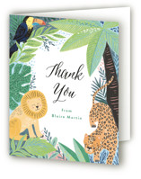 This is a yellow kids thank you card by Alethea and Ruth called Jungle Animal Sketchbook with standard printing on strathmore in standard.