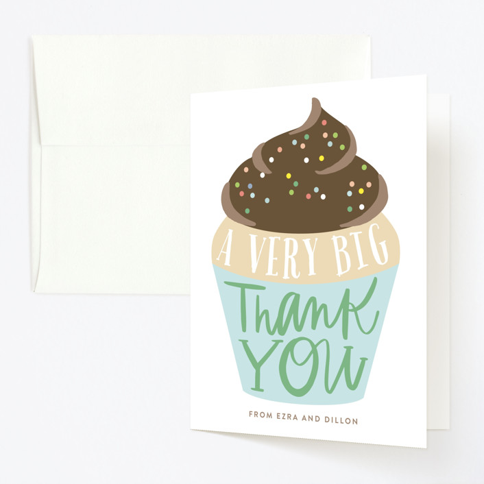 """""""Cupcake Topper"""" - Childrens Birthday Party Thank You Cards in Turquoise by Alethea and Ruth."""