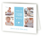 This is a blue kids thank you card by Carolyn MacLaren called We Survived Year One with standard printing on strathmore in standard.