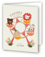 This is a red kids thank you card by Vivian Yiwing called little carnival with standard printing on strathmore in standard.