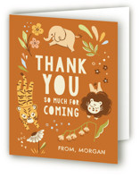 This is a orange kids thank you card by Vivian Yiwing called Go Wild with standard printing on strathmore in standard.