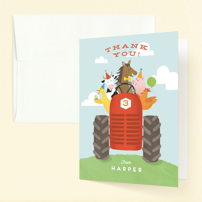 """""""farm animal friends"""" - Childrens Birthday Party Thank You Cards in Robin's Egg by Jennifer Wick."""