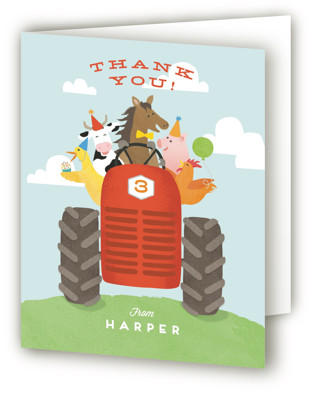 farm animal friends Children's Birthday Party Thank You Cards