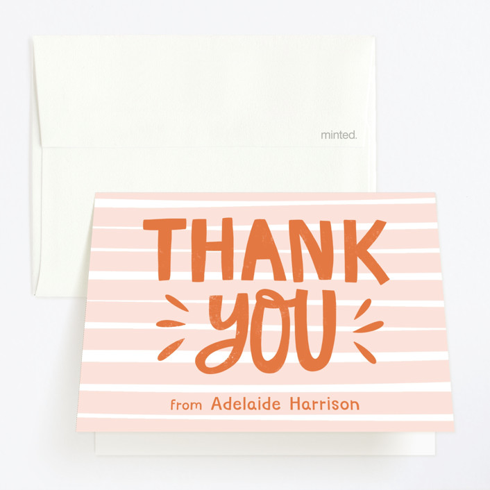 """""""Wonderful One"""" - Childrens Birthday Party Thank You Cards in Tangerine by Vine and Thistle."""