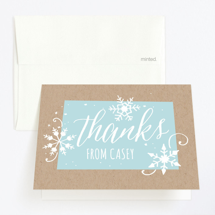 """Wintery"" - Childrens Birthday Party Thank You Cards in Frost by JeAnna Casper."