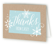 This is a blue kids thank you card by JeAnna Casper called Wintery with standard printing on strathmore in standard.