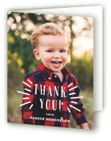 This is a white kids thank you card by Oma N. Ramkhelawan called Shout Out with standard printing on strathmore in standard.