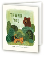 This is a green kids thank you card by iamtanya called Bear and Tiger with standard printing on strathmore in standard.