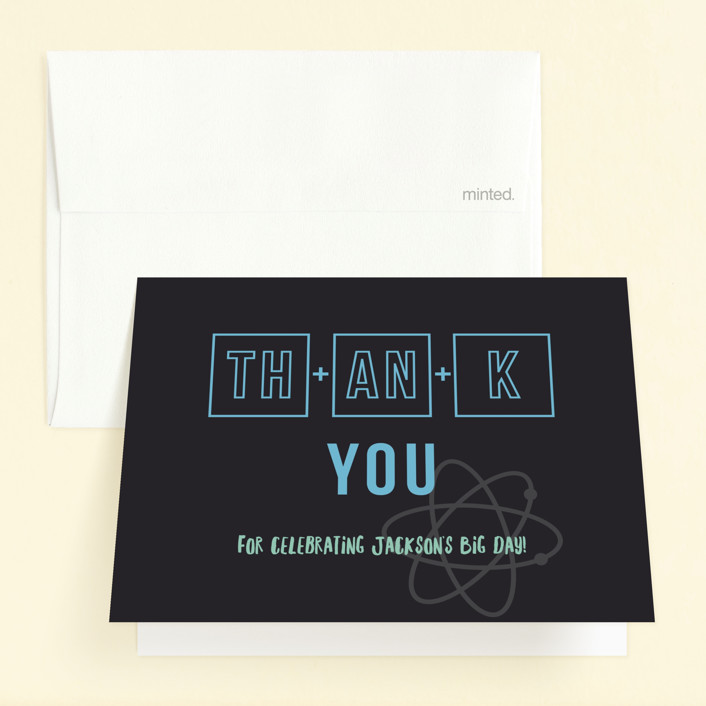 """Scientifically proven"" - Childrens Birthday Party Thank You Cards in Ice by Tennie and Co.."