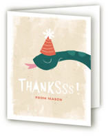 This is a green kids thank you card by Kiersten Garner called sssomeone's birthday with standard printing on strathmore in standard.