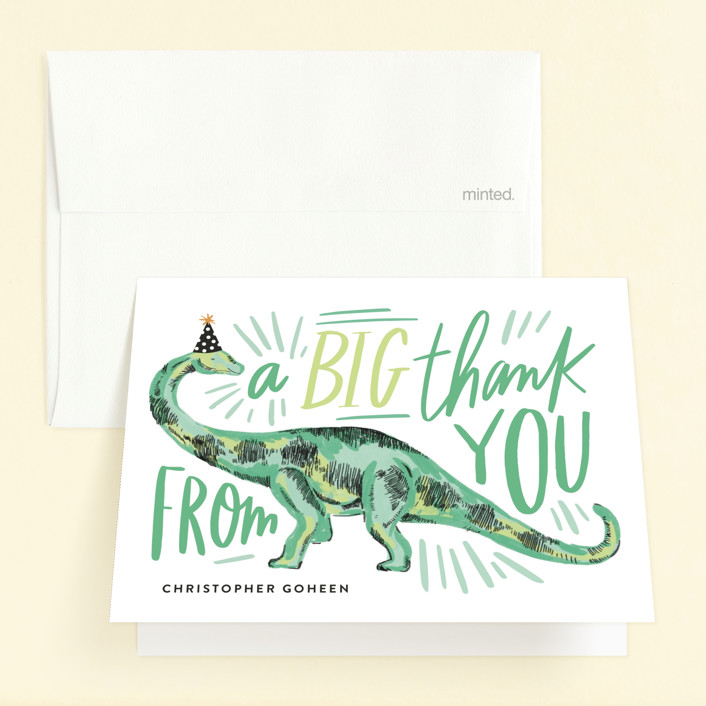 """Dino Party Hat"" - Childrens Birthday Party Thank You Cards in Fern by Alethea and Ruth."