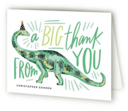 This is a green kids thank you card by Alethea and Ruth called Dino Party Hat with standard printing on strathmore in standard.