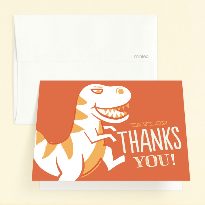 """""""T-rex Riot"""" - Childrens Birthday Party Thank You Cards in Jungle by Jessie Steury."""