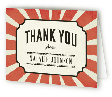 Vintage Carnival Children's Birthday Party Thank You Cards