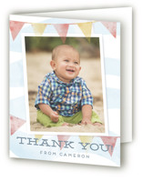 This is a blue kids thank you card by shoshin studio called shore-n-sandcastles with standard printing on strathmore in standard.