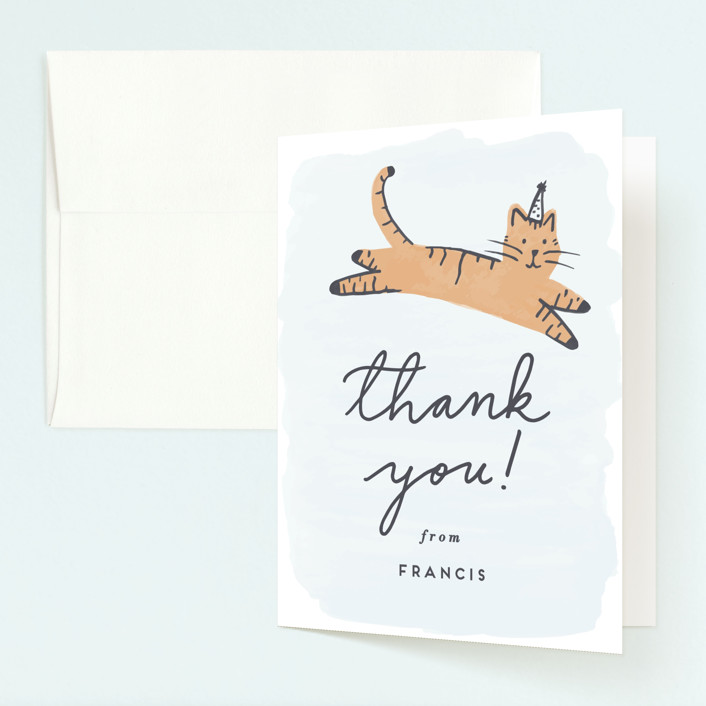 """Pawty Cat"" - Childrens Birthday Party Thank You Cards in Apricot by Everett Paper Goods."