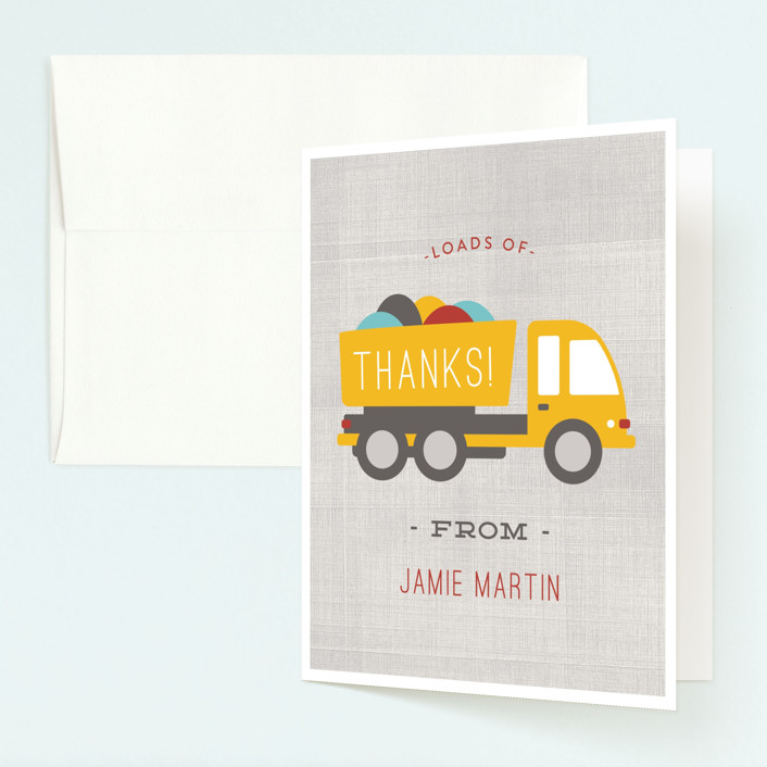 """""""Dig It"""" - Childrens Birthday Party Thank You Cards in Firetruck by Michelle Poe."""