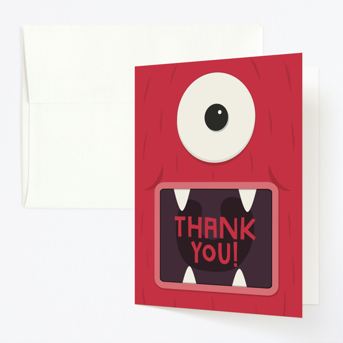 """""""Monster Party"""" - Childrens Birthday Party Thank You Cards in Scary Scarlet by Guess What Design Studio."""