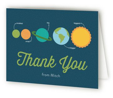 Outer Space Children's Birthday Party Thank You Cards