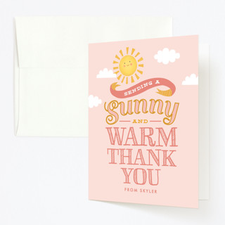 Sweet Little Sunshine Childrens Birthday Party Thank You Cards