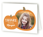 This is a orange kids thank you card by Laura Hankins called Pumpkin Patch with standard printing on strathmore in standard.