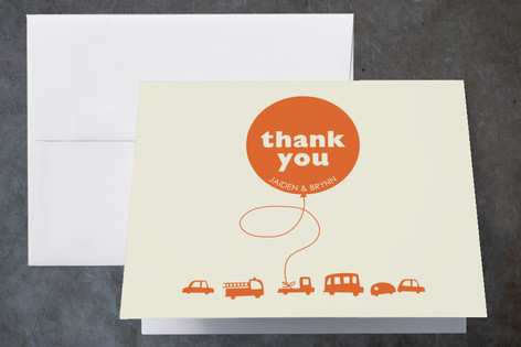 Orange Balloon Childrens Birthday Party Thank You Cards