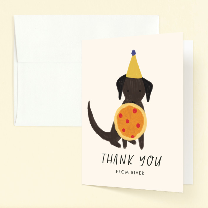 """""""Puppy Pizza Party"""" - Childrens Birthday Party Thank You Cards in Cobblestone by Stephanie Given."""