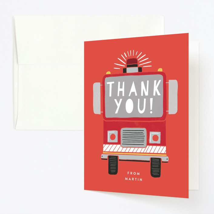 """Sound the Alarm Firetruck"" - Childrens Birthday Party Thank You Cards in Poinsettia by Alethea and Ruth."