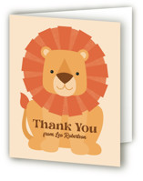 This is a orange kids thank you card by Kacey Kendrick Wagner called Wild Lion with standard printing on strathmore in standard.