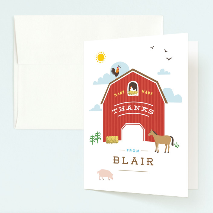 """Big Red Barn"" - Childrens Birthday Party Thank You Cards in Barn by Jennifer Wick."