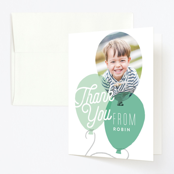 """Balloon Party"" - Childrens Birthday Party Thank You Cards in Azure by Alethea and Ruth."