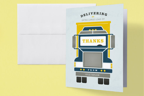 Truck Time Childrens Birthday Party Thank You Cards