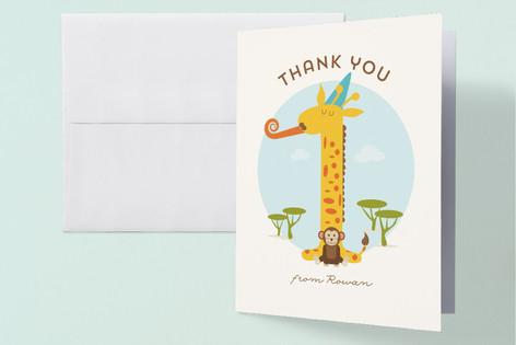 Wild Giraffe Childrens Birthday Party Thank You Cards