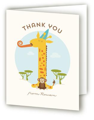 Wild Giraffe Children's Birthday Party Thank You Cards