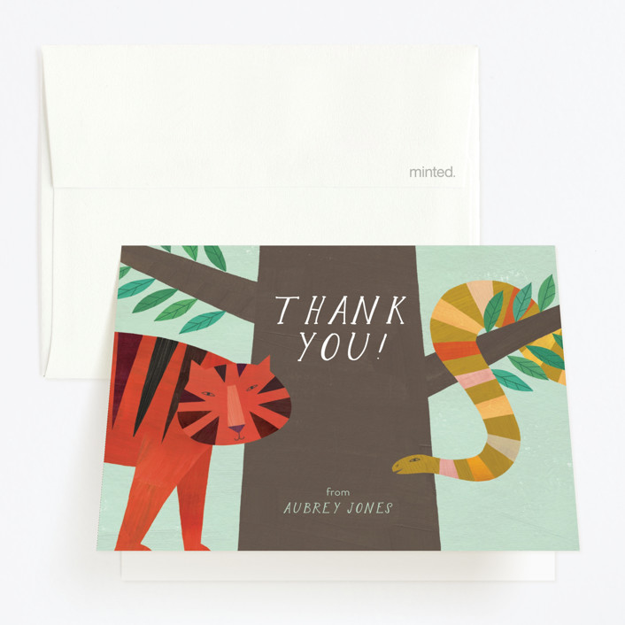"""Jungle Animals"" - Childrens Birthday Party Thank You Cards in Forest by melanie mikecz."