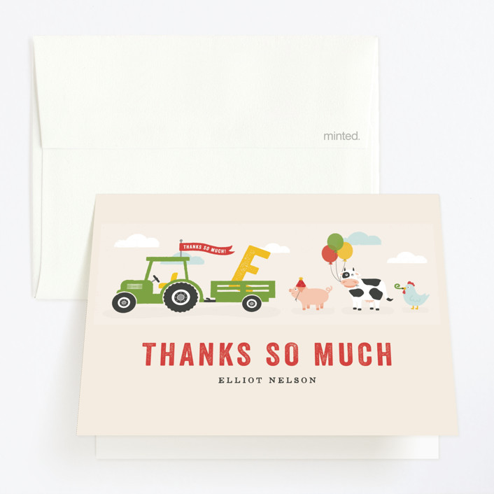 """Party Parade"" - Childrens Birthday Party Thank You Cards in Cream by Michelle Taylor."