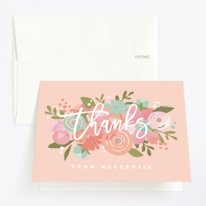"""""""Blooming Peonies"""" - Childrens Birthday Party Thank You Cards in Peach by Jennifer Wick."""
