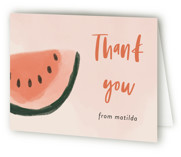 This is a pink kids thank you card by Morgan Kendall called Watermelon with standard printing on strathmore in standard.