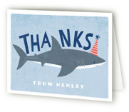 This is a blue kids thank you card by Karidy Walker called Shark Tank with standard printing on strathmore in standard.
