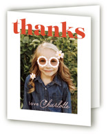 This is a red kids thank you card by Caitlin Considine called Let's get groovy with standard printing on strathmore in standard.
