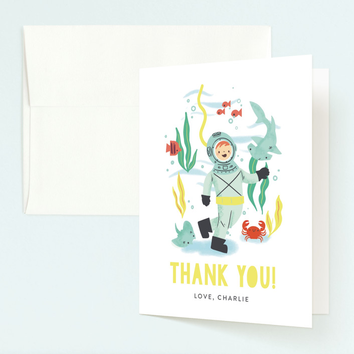 """""""Deep Dive"""" - Childrens Birthday Party Thank You Cards in Sea Green by Itsy Belle Studio."""