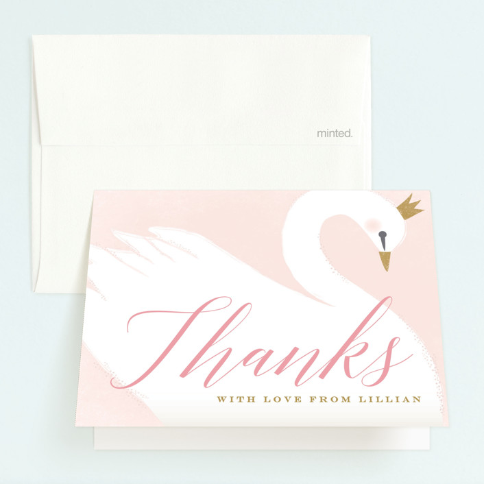 """sweet swan princess"" - Childrens Birthday Party Thank You Cards in Ballet Slipper by Karidy Walker."