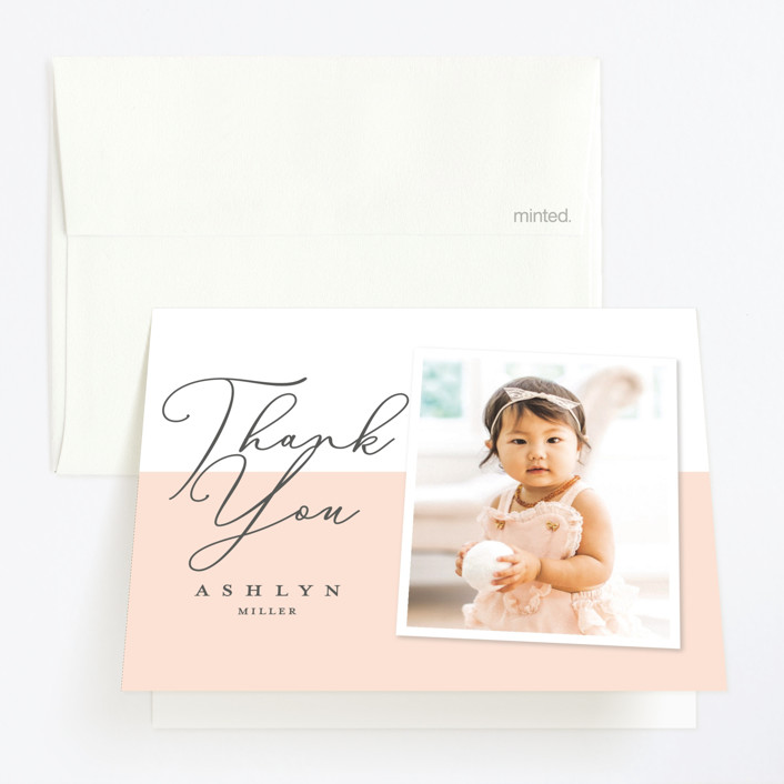 """Modern girl"" - Childrens Birthday Party Thank You Cards in Blush by Stacey Meacham."