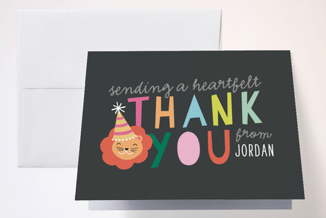 Party Hat Animals Childrens Birthday Party Thank You Cards