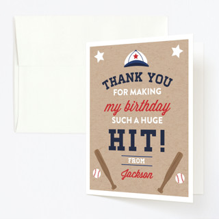 Little Slugger Childrens Birthday Party Thank You Cards