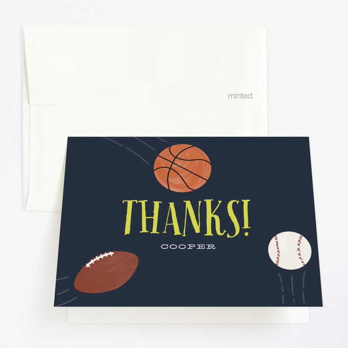 """""""Sports Fan"""" - Childrens Birthday Party Thank You Cards in Navy by Leah Bisch."""