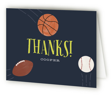 Sports Fan Children's Birthday Party Thank You Cards